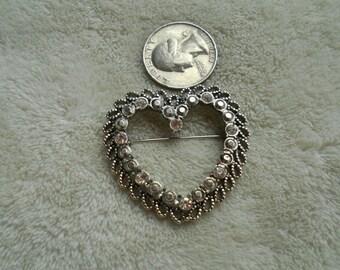 Vintage Pin-Pendant- Silvertoned & Rhinestoned Heart-P4030