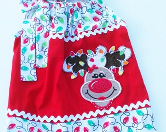 Christmas Reindeer Pillowcase dress Only  Sizes 0-6mo, 6-12mo, 12-18mo, 18-24mo, 2t, 3t, 4t, 5/6, 7/8, 9/10