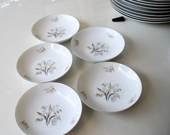 SALE / 5 Meito China Dessert Bowls, Lily of The Valley, fine Asian china sauce bowls set of 5, platinum rims Japan plates, replacement china