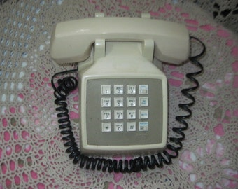 Telephone, Vintage White Square Push Button Phone AT&T, Vintage Home Decor, Home Decor, Vintage Phone ,  :)S