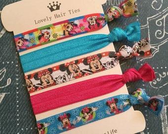 Minnie Elastic Hair Ties- Ponytail Holders- Hair Tie Bracelets - Knotted Ribbon Hair Bands