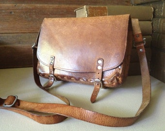 Brown Saddle Leather Bag, Belted Handbag, Made in England, Mini Briefcase Style, Strap and Buckle