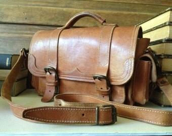 Vintage Artisan Rustic Sienna Brown Leather Satchel Handbag ~ Mini Briefcase