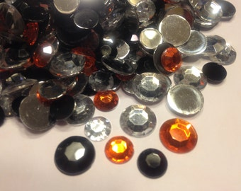 100 piece Halloween color rhinestone mix, 9 - 11 mm (S8)