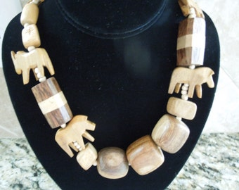Vintage Animal Necklace.  African Animals in Wood on a Wood Bead Necklace.  30 Inches Long