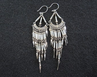 Vintage Dangle Earrings.  Silver Toned, Excellent Condition.  3.5 Inches Drop.  Hook Type