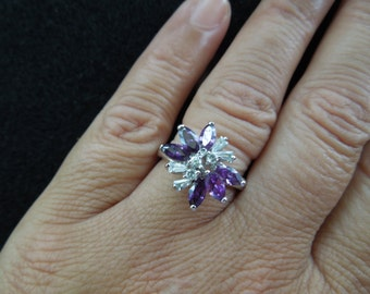 Vintage Costume Ring, Silver Toned with Clear and Purple Rhinestones in a Butterfly Pattern.  Size 7.