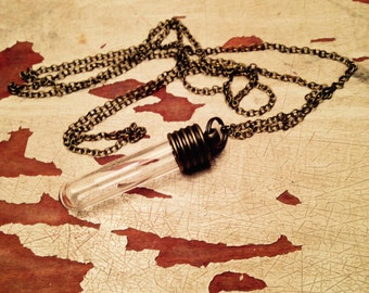 "Empty Glass Vial on 14"" Soldered Bronze Chain"