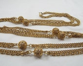 Gold Plated Brass Vintage Ladies Super Long Station Chain Necklace 50 inch.