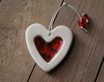 Crystal inlaid ceramic heart - Red
