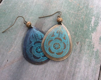 Patina and Brass Earrings/Flowers/Southwestern/Hippie