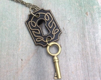 Lock and Key Necklace/Vintage/Boho/Hippie/Victorian/Edwardian