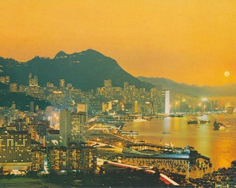 70s HONG KONG Postcard Victoria Harbour in the Evening 香港 明信片 太平山 及 維港