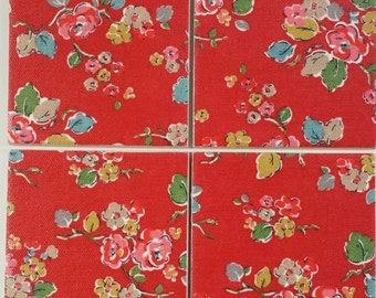 2, 4 or 6 Ceramic Coasters in Cath Kidston Woodland Rose Red