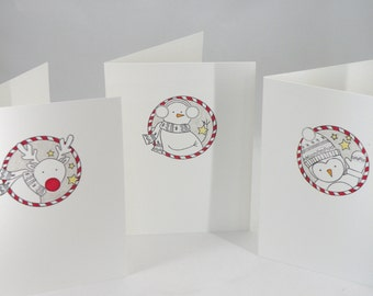 Set of Three Christmas Cards with Penguin, Snowman and Reindeer