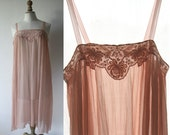 Chiffon silk slip, fully hand-stitched, powder pink. Lingerie 1920's style,