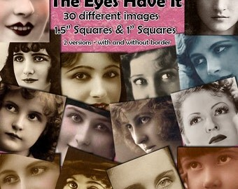 """The Eyes Have It - 1.5 Inch Squares Digital Collage Sheets for Mixed Media and Crafting, Plus Bonus 1"""" Squares Inchies  Eye Collage Sheet"""