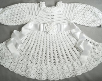 Crochet Christening Dress with long sleeves.