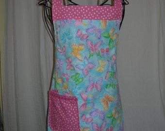 Reversible Apron Sparkly Butterflies on Sky Blue, with Pretty Polka Dots....Precious