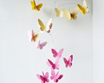 Pink Yellow 3D Butterflies, Hanging mobile, Kinetic , Home decor