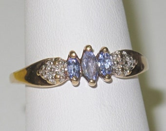 Vintage Estate Marquise Cut Tanzanite & Diamond Ring 10K Solid Gold Sz 6.5