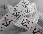 Anchor Nautical Grosgrain Ribbon, Daddy's Little Girl, wholesale ribbon, naval ship, 7/8 Inch Ribbon, RN16133