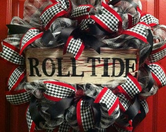 Alabama Crimson Tide Football Wreath, Bama Door Wreath, Alabama Wreath, Roll Tide