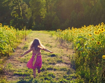 Girl in Sunflower Field Photograph, Childhood Summer Fun Flower Garden Photo Art, Frame Available