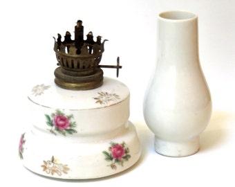 Vintage Oil Lamp Porcelain Base and Chimney Pink Roses, Japan