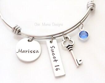 Sweet 16 Bracelet, Name Bracelet, Charm Bracelet, Bangle, Girls Bangle, Lock & Key Bracelet, Name Jewelry, Gift for Her