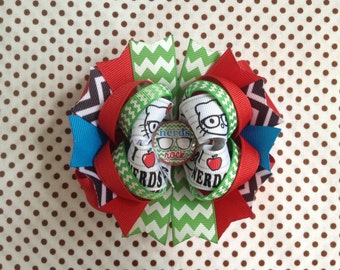 SALE! Ready To Ship Hairbow! Nerds Rock Hairbow, I Love Nerds Hairbow, Schoolgirl Hairbow, Apple Hairbow, Chevron Boutique Hair Bow