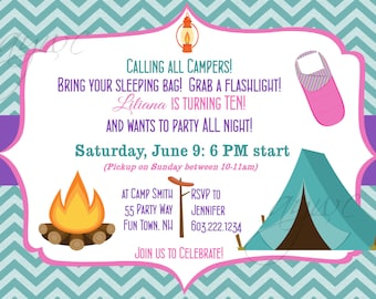 Camping Birthday Party Invitation Printable Camping Out Party Campout Invitations Birthday Chevron Tent Sleeping Bag Lantern ANY AGE
