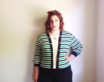 Vintage Nautical Anchor Pullover // Navy, Green, & White Striped Slouchy Top // Hipster //  Large  - 1980s