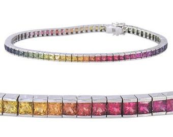 Rainbow Sapphire Tennis Bracelet 18K White Gold (16ct tw) : sku 622-18K-WG