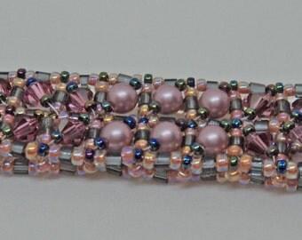 Dazzeling Rose Swarovski and seed bead Bracelet