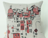 cushion, slipcover, city, montréal,  black, one of a kind, screen print, hand made, pillow case, pillow,