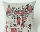 coussins, housse, rouge, noir, sérigraphie, fait à la main, housse, lavable, vélo, ville, montréal, dessins