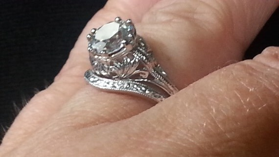 items similar to antique reproduction engagement ring set