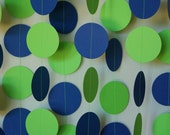 Blue / Green Birthday Party Decoration, Paper Garland, Blue & Lime Green Circle Garland, 10 ft. long