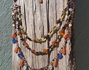 Multicolor Multistrand Copper Necklace, Orange, Green, Purple, Blue, Yellow Glass