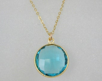 Gemstone Necklace-Birthstone Necklace - December Birthstone -Blue Topaz Round Pendant-22k Gold Plated over Sterling Silver Necklace
