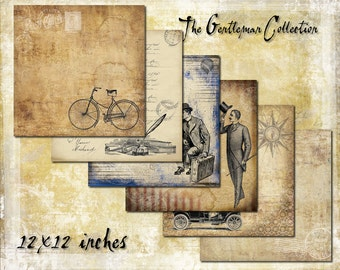 Digital Paper Pack The Gentleman Collection 12x12 downloadable printables