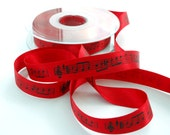 Musical Notes Ribbon, Double Satin 15mm (5/8) width, Red Ribbon with Black Print