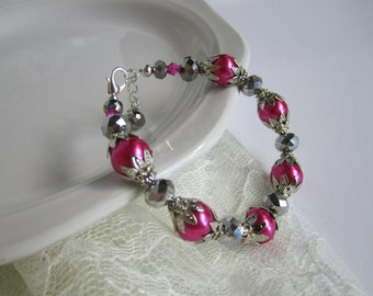 Fuchsia Dark Pink Bridesmaid Bracelet Raspberry Wedding Jewelry Watermelon Bridesmaid Gift Maid of Honor