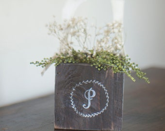 Laurel Wreath Monogram Flower Girl Basket