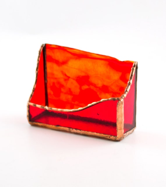 Unique business card holder desk red gold stained glass for Unusual business card holders