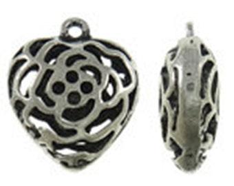 4pc 23x19mm antique silver finish metal heart pendant-8144A