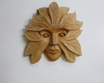 SALE Wood Sculpture Green Woman Art Wood Sculpture Wood Carving Woman's Face Wall Decor Hand Carved Birthday Gift FREE SHIPPING, wall plaque