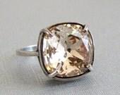 Vintage Light Silk Swarovski Crystal Ring Adjustable Antique Silver Square Cushion