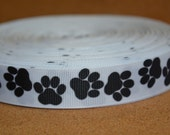 "PAW PRINT Printed ribbon perfect dog collars. 7/8"" grosgrain ribbon sold by the yard or Paw Print 1 inch flatback buttons"
